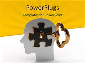 Presentation design featuring head with a puzzle and key inside with yellow color rays