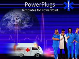 Colorful PPT theme having healthcare theme with doctor and three smiling nurses ambulance speeding and heartbeat line with globe in the background
