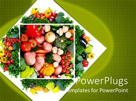 Beautiful PPT layouts with healthy diet concept with close up on vegetable plate with tomatoes, red pepper, yellow pepper, onion, potatoes, eggplant, mushrooms, carrots and pumpkins