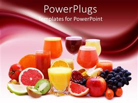 Presentation theme consisting of healthy diet concept with multitude of various freshly cut fruits, vegetable and fruits, glasses of fresh juice made of fruits and vegetables, on gradient burgundy and white background