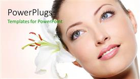 PPT theme consisting of a beautiful girl with a flower and pinkish background