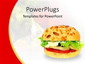 Beautiful presentation design with healthy vegetable burger on a white and red background