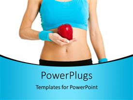 Beautiful presentation design with healthy young woman in blue with red apple in hand over white background