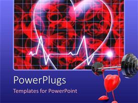 Colorful PPT theme having heart beat on monitor on dark background with heart weight lifting