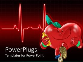PPT theme featuring a heart with a bottle and a heartbeat line