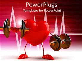 Presentation theme consisting of a heart holding various weights along with a heartbeat line