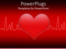 PPT theme having a heart in the middle of a heartbeat line with red background