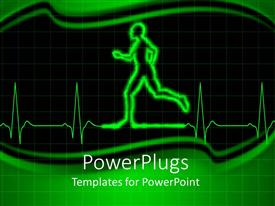 PPT theme enhanced with heart monitor EKG with human person running, green and black background, fitness, exercise, heart health, cardiology