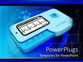 PPT layouts consisting of heart rhythm or ECG monitor with pulse in blue background