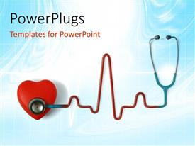 Amazing PPT theme consisting of heart and a stethoscope with heartbeat symbol isolated in blue background