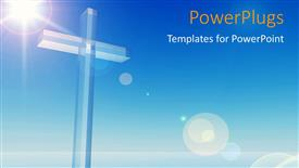 Presentation design enhanced with a bluish background with a cross