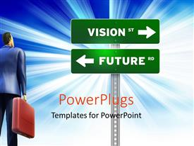 PPT theme consisting of 3D business professional gaze at road signs VISION st and FUTURE rd