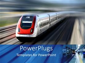 Colorful PPT layouts having high speed red and silver train with blurred background