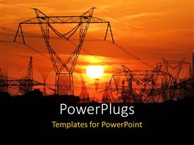 Slides having high voltage electric poles with sunset