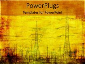 Amazing PPT layouts consisting of high voltage electricity poles on vintage looking yellow background