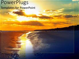 Audience pleasing PPT theme featuring hilton head beach with beautiful sunset and reflection on water