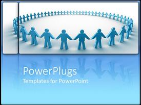 PPT layouts consisting of holding hands in a circle together collaboration blue background
