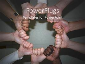 Elegant slide set enhanced with holding hands together embracing diversity black and white globalization together