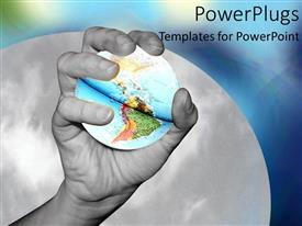 Elegant PPT theme enhanced with holding world in hand black and white continents grabbing collaboration