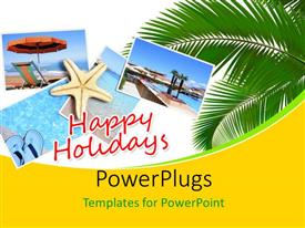 Elegant PPT layouts enhanced with holiday collage over a beach with different pictures of water, star fish, beach tree