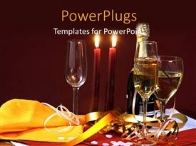 Amazing theme consisting of holiday depiction with burning candles wine bottle and glasses