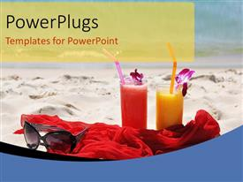 Elegant PPT theme enhanced with holiday depictions with sunglasses on red shawl in beach sand