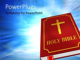 Colorful PPT layouts having the holy bbook of bible with bluish background