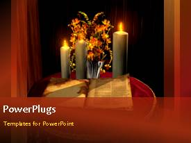 Elegant presentation theme enhanced with the holy bible with candles and flowers