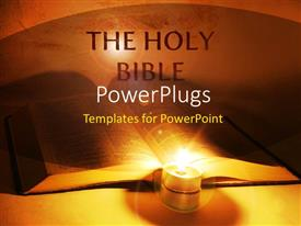 Presentation theme featuring holy bible with lighted candle in orange background