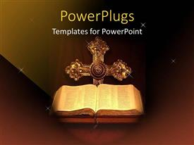 Audience pleasing PPT theme featuring holy Bible opened with a cross on a dark background