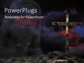 Elegant PPT theme enhanced with a holy cross with the representation of Jesus