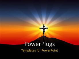 PPT theme enhanced with a holy cross with the sunset in the background