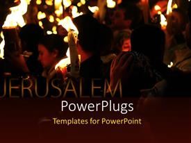 Theme consisting of holy pilgrimage to Jerusalem with pilgrims holding lighted candles