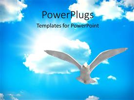 PPT layouts featuring holy spirit bird on Royal blue starburst color
