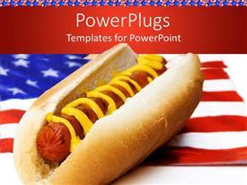 Elegant presentation enhanced with hot dog with mustard on American flag napkin