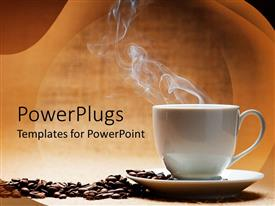 Presentation theme consisting of a hot white cup of coffee with beans on the side and brown background
