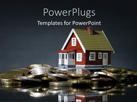 PPT theme having a house with a number of coins and greyish background