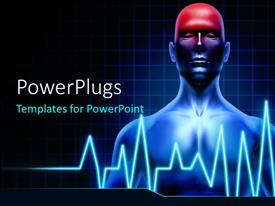 Colorful presentation theme having human anatomy with highlighted head indicating pain with ECG rays in foreground