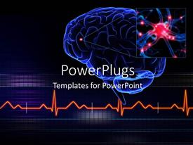 PPT layouts enhanced with human brain with a highlighted small part of the brain and ECG waves