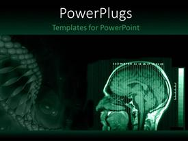 Slide deck enhanced with a human brain MRI with greenish background and place for text