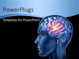 Elegant PPT theme enhanced with a human brain with a spark and blackish background