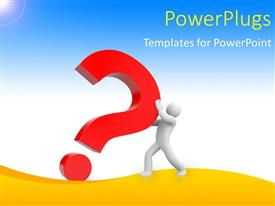 PPT theme with human character pushing a big red color question with blue color