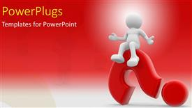 PPT theme having human character sitting on a question mark with red color