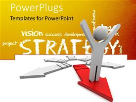 Presentation theme consisting of human character standing on forward 3d red arrow with strategy theme in background