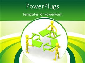 PPT theme consisting of human characters holding recycle symbol with green and yellow curves