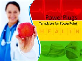 PPT layouts consisting of human female doctor holding an apple with health text beside her