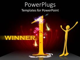 Colorful presentation theme having human figure with a huge number 1 and Winner text