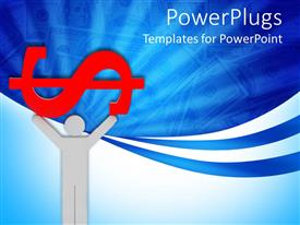 100 pac man powerpoint templates w pac man themed backgrounds presentation theme consisting of human figure raising a big red dollar symbol on blue and white toneelgroepblik Gallery