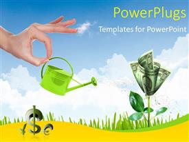 Presentation theme having human hand with a pot watering growing money tree, sky is
