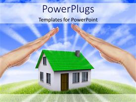 Colorful presentation design having human hands providing shelter to a house with blue sky in background